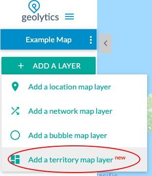 Territory map add menu